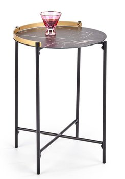 Marmurkowy stolik kawowy ELIOR Onyx, czarny, 45x45x60 cm-Elior