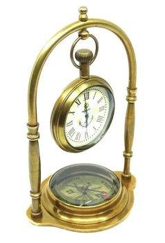 Marynistyczny zegar mosiężny z kompasem na zawiesiu NC1880-UPOMINKARNIA