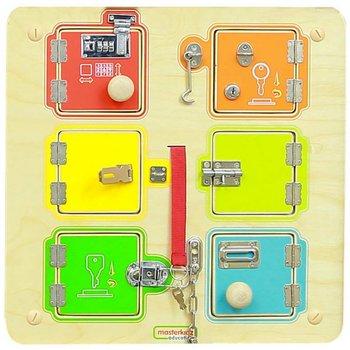Masterkidz, tablica ścienna nauka otwierania zamków z sejfami i listwami do montażu-Masterkidz