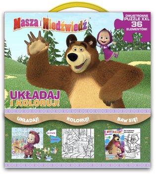 Masza i niedźwiedź. Układaj i koloruj-Opracowanie zbiorowe