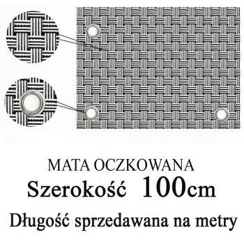 Mata,osłona balkonowa OCZKOWANA z technorattanu, kolor biało-czarny, szerokość 1,00 m-TechnoRattan