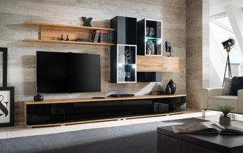 Meblościanka ASM Mohito LED, czarno-brązowa, 300x180x45 cm-ASM