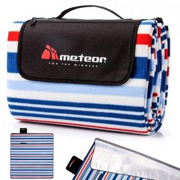 Meteor, Koc piknikowy, Pasy, grantowo-biały, 180x200 cm -Meteor