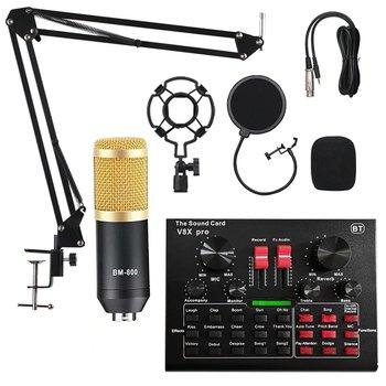 Mikrofon studyjny z mixerem kartą dźwiękową Bluetooth karaoke Sodial V8x Pro KIT-Strado