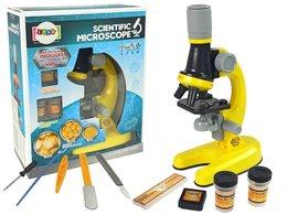 Mikroskop Dla Naukowca Zestaw Edukacyjny Żółty 100x 400x 1200x