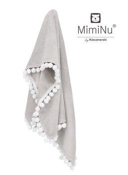 MimiNu by Kieczmerski, Kocyk z pomponikami, szary-biały, 75x100 cm-MimiNu by Kieczmerski