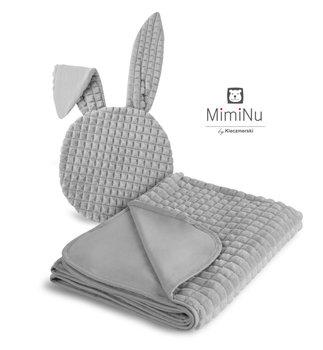 MimiNu by Kieczmerski, Komplet: Kocyk z poduszeczką z uszami, szary-MimiNu by Kieczmerski