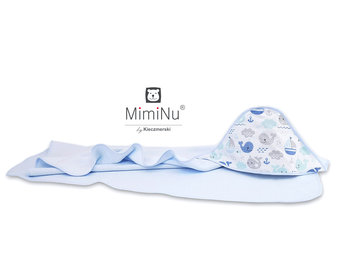 MimiNu by Kieczmerski, Okrycie kąpielowe, Termofrotte/Bawełna, Rybki, Błękitny, 100x100 cm-MimiNu by Kieczmerski