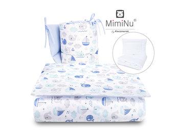 MimiNu by Kieczmerski, Pościel niemowlęca, 5-elementowa, bawełna, Rybki, Błękitny, 90x120 cm -MimiNu by Kieczmerski