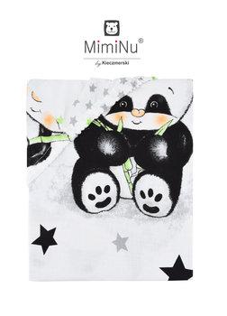 MimiNu by Kieczmerski, Prześcieradło, Panda, Biały/Szary, 60x120 cm-MimiNu by Kieczmerski