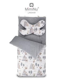MimiNU by Kieczmerski, Śpiworek do wózka, fotelika, na sanki z poduszką antywstrząsową Motylek, Velvet niepikowany Szary/Las, zestaw -MimiNu by Kieczmerski