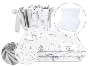 MimiNu, Pościel niemowlęca, 5 elementowa, Jelonek, Bawełna, Szary, 90x120 cm-MiMiNu