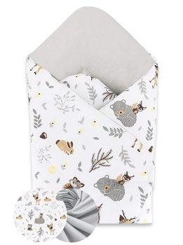 MimiNu, Rożek niemowlęcy, usztywniany, Leśni przyjaciele, Beżowy/Szary, Bawełna, 75x75 cm-MiMiNu