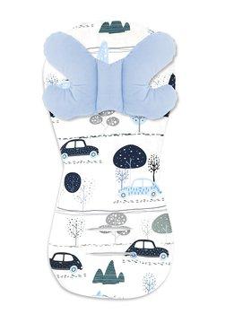 MimiNu, Wkładka, 35x70 cm + Motylek, 35x25 cm, Velvet, Dziecięca podróż, Błękit-MiMiNu
