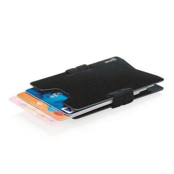 Minimalistyczny aluminiowy portfel z ochroną RFID Czarny - czarny-XD COLLECTION
