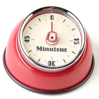Minutnik mechaniczny z magnesem EMAKO, czerwony, 8x8x5,5 cm-Emako