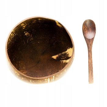 Miska + łyżeczka z łupiny kokosa EKOLOCO, brązowa-EKOLOCO