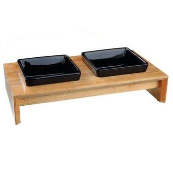 Miski ceramiczne na drewnianej podstawce dla psa TRIXIE, 2x200 ml-Trixie