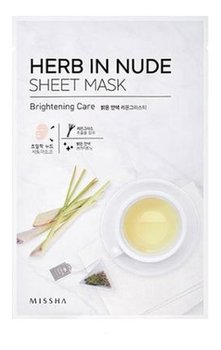 Missha, Herb In Nude Sheet Mask, maseczka oczyszczająca w płachcie Brightening Care, 23 g-Missha