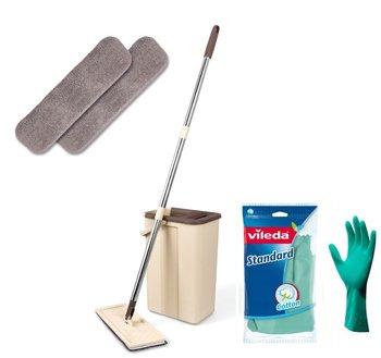 Mop z wiadrem i rękawiczkami ULTRAMOP, beżowy-Promis