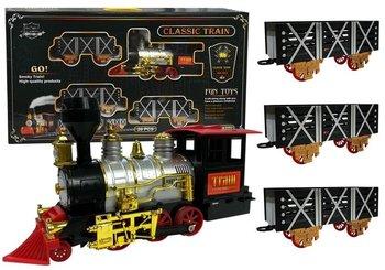 Muzyczna kolejka na baterie Parowóz z wagonami-Lean Toys