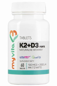 MyVita, Witamina K2 MK-7 K2MK7 + D3 100mcg + 2000IU, 60 tabletek-MyVita