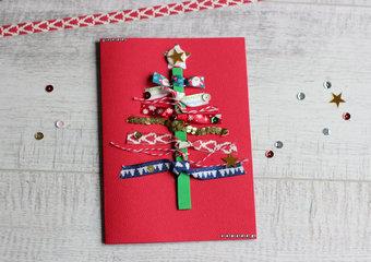 Na około choinki, czyli jak wykonać kartkę świąteczną z kolorowych tasiemek