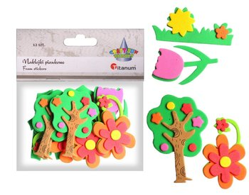 Naklejki piankowe, drzewa i kwiaty, 12 sztuk-Titanum