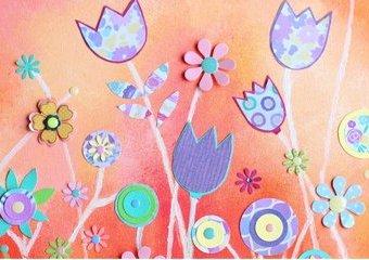 Namaluj słoneczną łąkę - stwórz na płótnie obraz z papierowych kwiatów.