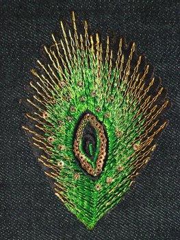 Naprasowanka haftowana Pawie Pióro Zielone-Ki-Sign