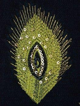 Naprasowanka haftowana Pawie Pióro Żółte-Ki-Sign