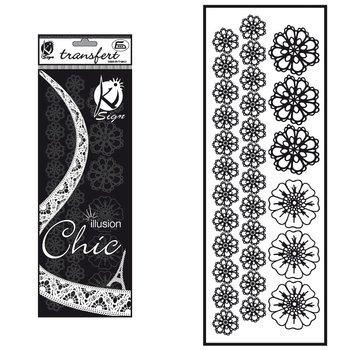 Naprasowanka welwetowa Czarna Kwiatki, arkusz-Ki-Sign