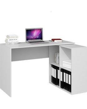 Narożne biurko z regałem malax 2x2 TOPESHOP, białe-Topeshop