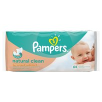 Natural Clean, Chusteczki nawilżane, Single, 64 szt., Pampers