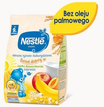 Nestle, Kaszka Dzień dobry mleczna ryżowo-kukurydziana jabłko banan morela dla niemowląt po 9 miesiącu, 230 g-Nestle