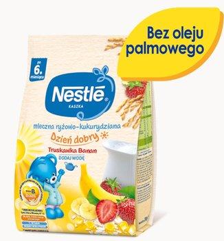 Nestle, Kaszka Dzień dobry mleczna ryżowo-kukurydziana truskawka banan dla niemowląt po 6 miesiącu, 230 g-Nestle
