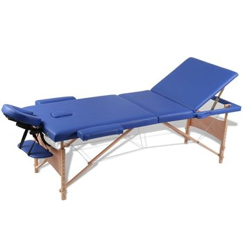 Niebieski skĹ'adany stół do masaĹĽu 3 strefy z drewnianÄ… ramÄ…-vidaXL