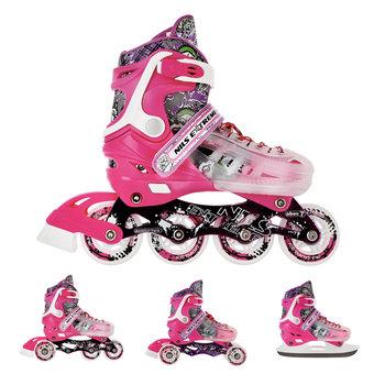 NILS Extreme, Łyżworolki z wymienną płozą hokejową, NH18122, 4w1, różowy, rozmiar 39/43-NILS Extreme
