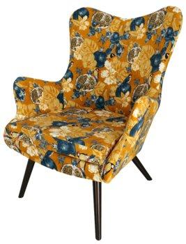 Nowoczesny fotel BERGEN w egzotycznym żółto-niebieskim wzorze - z owocami granatu-Postergaleria