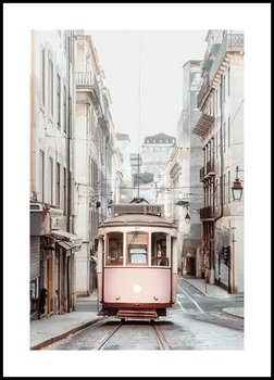 Nowoczesny Obraz Plakat A4 21x30 cm Podmiejski Różowy Tramwaj / Fabryka Plakatu -Fabryka plakatu
