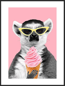 Nowoczesny Obraz Plakat A4 21x30 cm Zabawny Lemur / Fabryka Plakatu -Fabryka plakatu