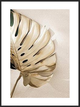 Nowoczesny plakat FABRYKA PLAKATU Liść Złota Monstera A3, 30x42 cm-Fabryka plakatu