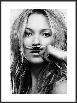 Nowoczesny plakat FABRYKA PLAKATU Wąsik Kate Moss B2, 50x70 cm-Fabryka plakatu