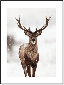 Nowoczesny plakat FABRYKA PLAKATU Zimowy Jeleń A4, 21x30 cm-Fabryka plakatu