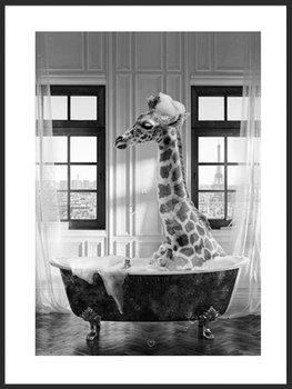 Nowoczesny plakat FABRYKA PLAKATU Żyrafa w Wannie A3, 30x42 cm-Fabryka plakatu