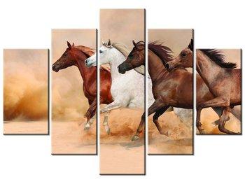 Obraz, Konie w galopie, 5 elementów, 150x105 cm-Oobrazy