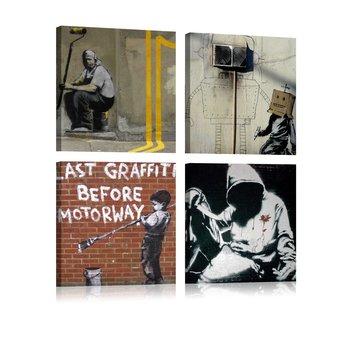 Obraz Na Płótnie Banksy Street Art 4 Elementy 40x40 Cm