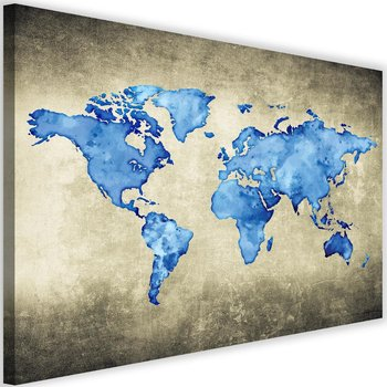 Obraz na płótnie Canvas FEEBY, Niebieska mapa świata, 60x40 cm-Caro