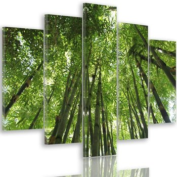 Obraz na płótnie Canvas FEEBY, pentaptyk typ A, Czubki bambusów, 100x70 cm-Caro