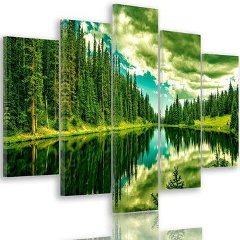 Obraz na płótnie Canvas FEEBY, pentaptyk typ A, Las nad górskim jeziorem 3, 100x70 cm-Caro